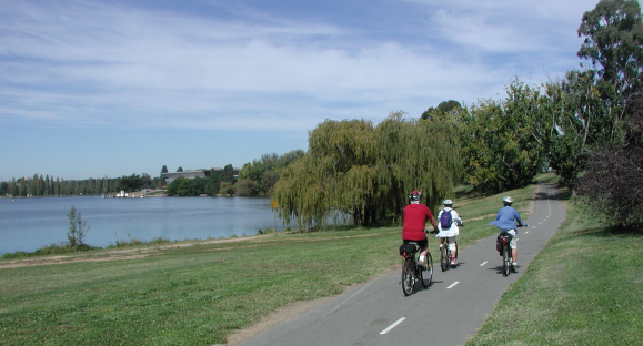 Bike path, West Basin Lake Burley Griffin Photo by spelio CC BY-NC-ND 2.0, ACT, Australia