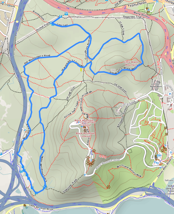 Black Mountain, Canberra. Map style: 4U hiking bicycling. Map source OpenStreetMap