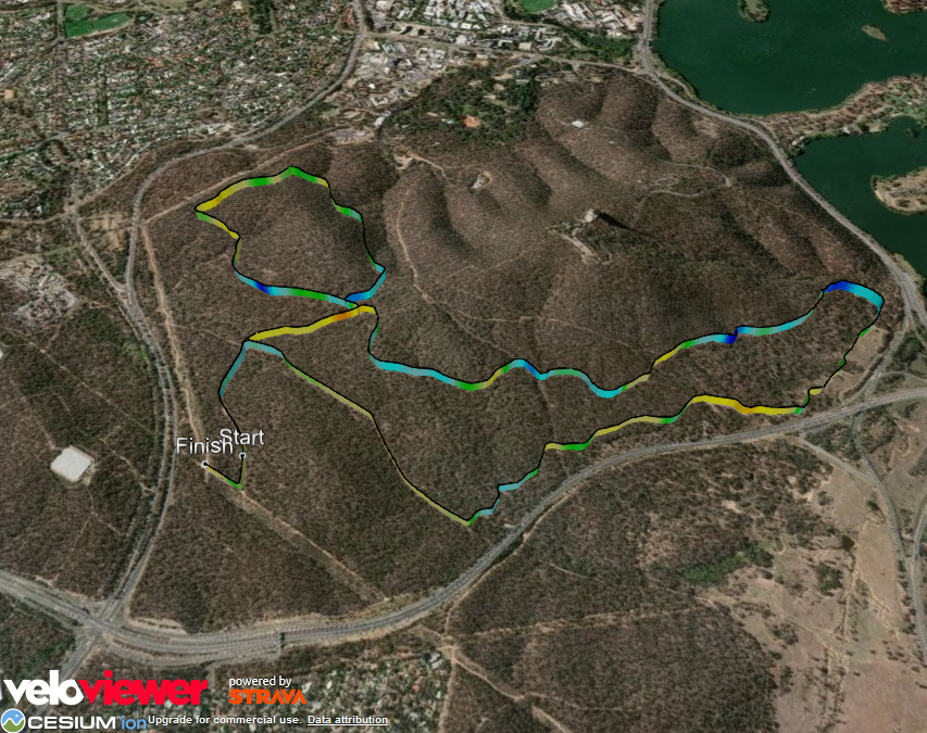 Black Mountain, VeloViewer, Google Earth. Canberra.