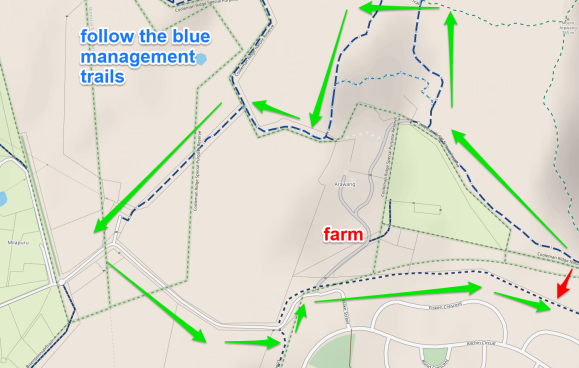 Cooleman Ridge illustrates a common situation where the route around the private property can be quite a long one. Canberra Centenary Trail. CyclOSM v0.3.6 | Map data © OpenStreetMap contributors