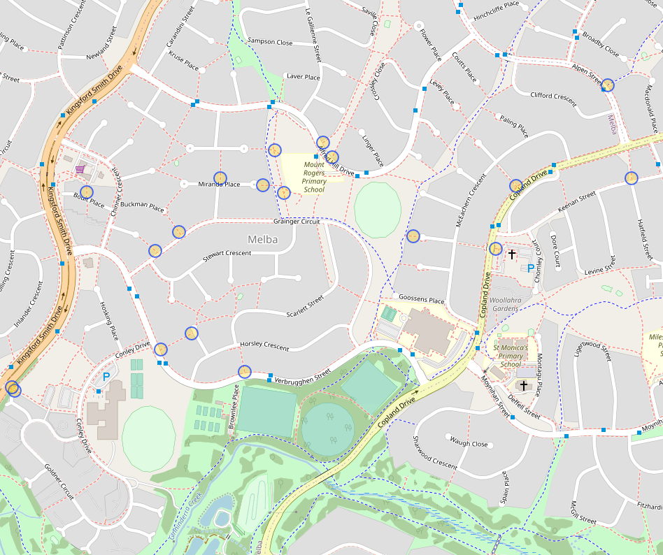 Cycle barrier: Melba is the cycle barrier paradise. Source overpass-turbo and OpenStreetMap