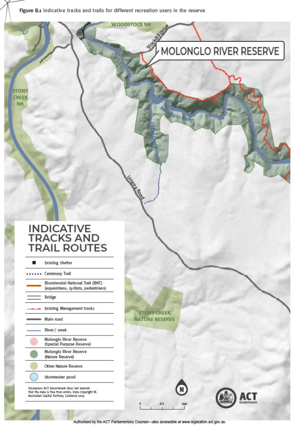 East side, Existing management trails, Molonglo River Reserve Management Plan, page 92