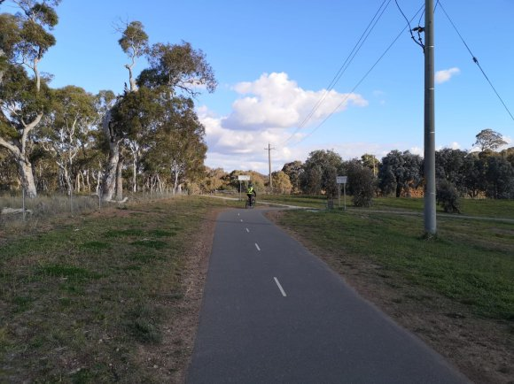 Turn off to the Barton Highway, Crace bike path, Gungahlin, Canberra