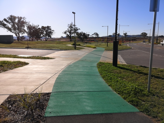 """Safe cyclings with the""""continuous verge treatment"""", Bike ONLY path crossing Ariotti Street, Strathnairn, West Belconnen"""