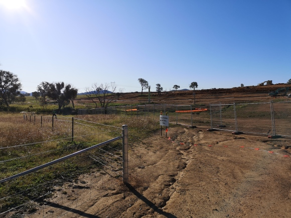 Construction beside the Bicentennial National Trail, new suburb of Strathnairn, West Belconnen