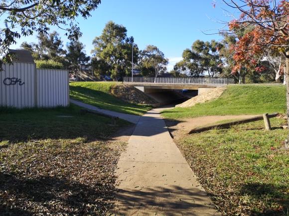 In older suburbs, you will often find underpasses. Community paths around Evatt local shops, Belconnen