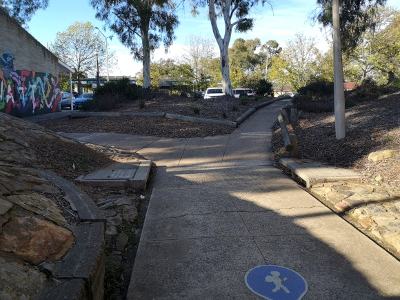 This is not a pedestrian path but a community path and can be used by all active travellers. The blue sign is a warning that school children are likely to walk here. Evatt, Belconnen.