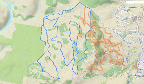 MTB Stromlo West 3 loops, Mount Stromlo Forest, Canberra. Source: Bike map view, OpenStreetMap