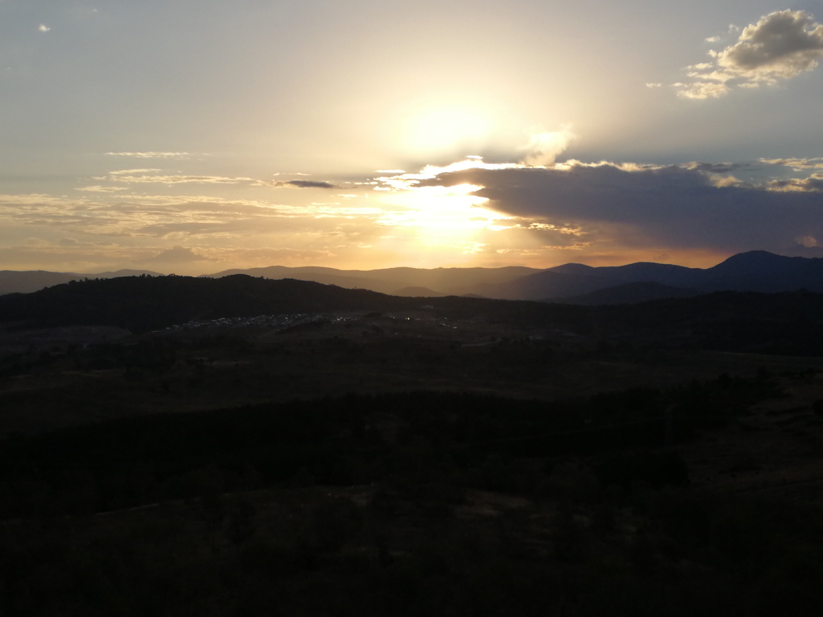 Sunset over the Brindabella Ranges and Denman Prospect from the National Arboretum, Canberra.