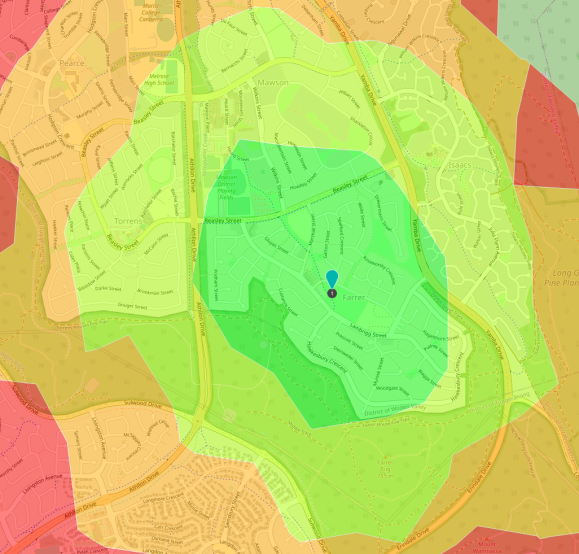 Farrer Nature Play, Farrer. Isochrone plot generated with OpenRouteService. Map data © OpenStreetMap contributors