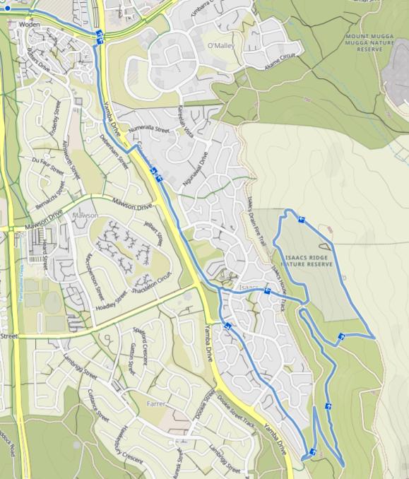 Isaac Ridge peak from Woden Bus Station, Komoot, Map data © OpenStreetMap contributors