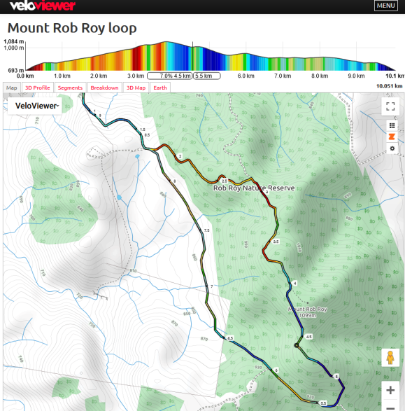 Mount Rob Roy loop. Veloviewer Map data © OpenStreetMap contributors