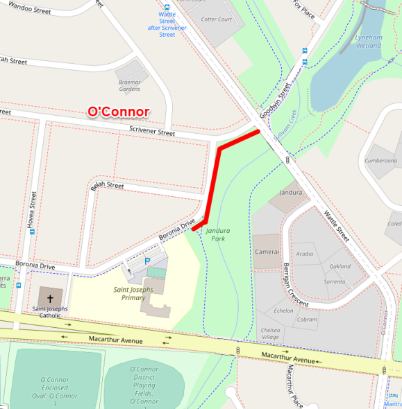 O'Connor, Central Canberra - project E: A new 200m long and 2.5m wide asphalt path on the north-western side of the open space in Jandura Park between Boronia Drive and Wattle Street in O'Connor.