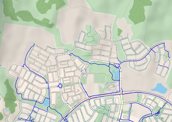 Taylor bike paths. CyclOSM v0.3.6 Map data © OpenStreetMap contributors