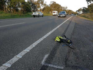 Not much space on the marked shoulder (no bike lane) on a 90 km/h road, William Hovell Drive, Belconnen