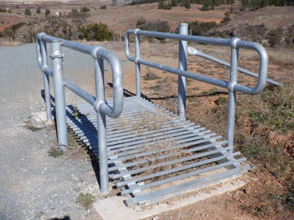 Pedestrian stile on the approach to Butters Bridge, Molonglo Valley, Canberra