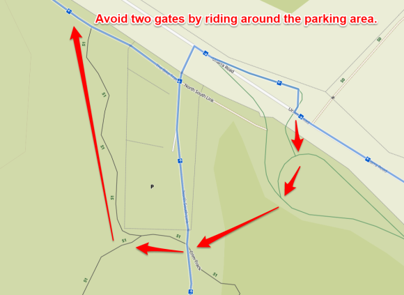 Avoid two gates by riding around the parking area. Stromlo West Komoot, Map data © OpenStreetMap contributors.