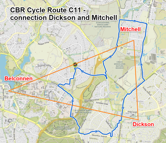 CBR Cycle Route C11, connecting Mitchell with Dickson. Map Komoot and map data © OpenStreetMap contributors.