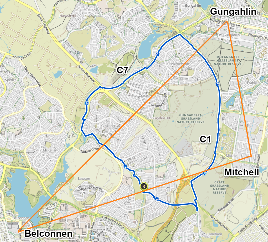 CBR Cycle Route C7 Belconnen - Gungahlin loop. Map Komoot, Map data © OpenStreetMap contributors.