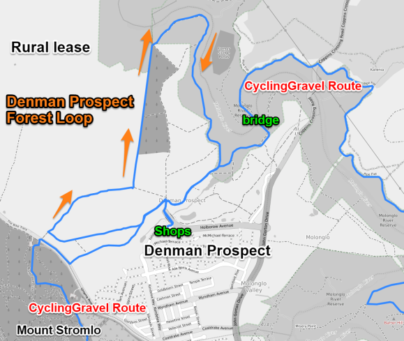 Denman Prospect Forest loop, Molonglo Valley, starting and ending at the shops. Map data © OpenStreetMap contributors.