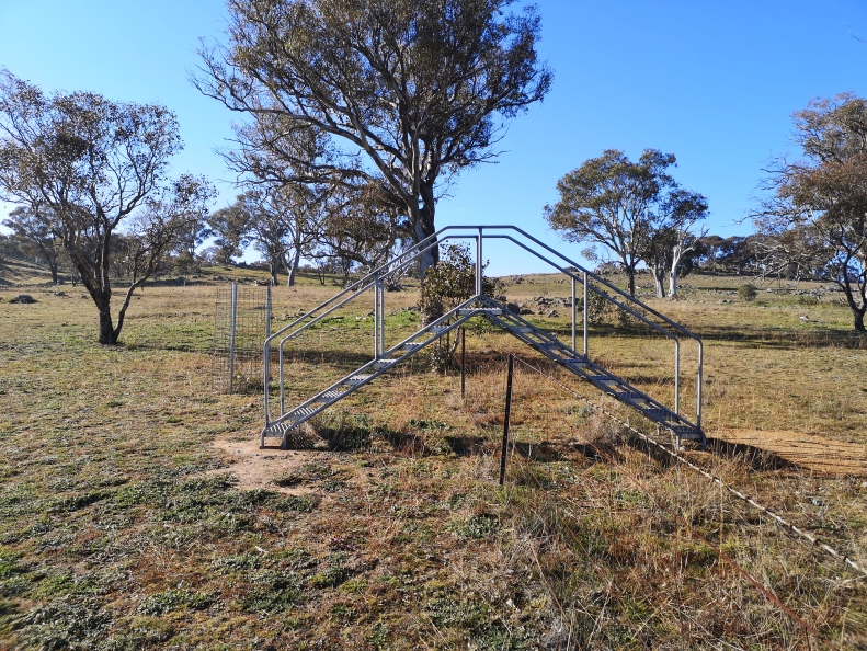 Pedestrian stile over a wire fence in The Pinnacle Offset Area, Hawker, just off William Hovell Drive, Belconnen. The fence is in the middle of the reserve and therefore serves no purpose. The preservation of the fence is most likely due to the heritage value placed on the areas agricultural past.
