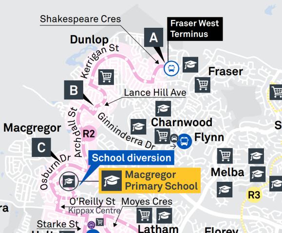R2 Fraser West Terminus - Suburbs Dunlop, Fraser, Charnwood, Flynn