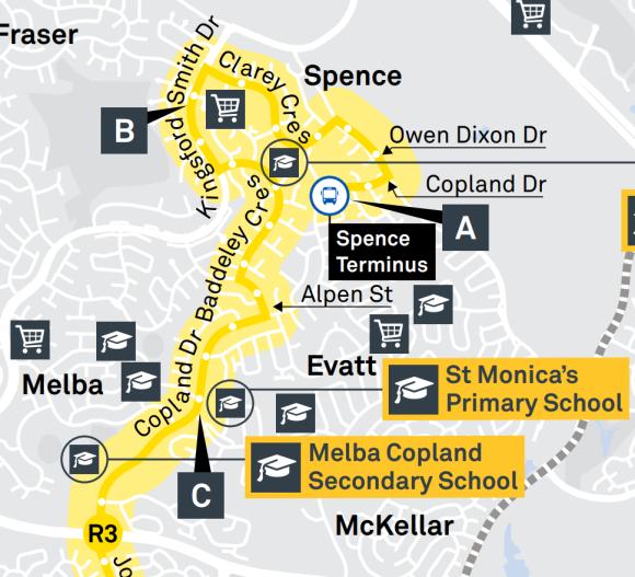 R3 Spence Terminus - Suburbs Spence, Fraser, Melba, Evatt
