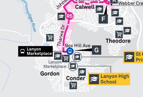 R5 Lanyon Marketplace Terminus - Suburbs Erindale, Gordon, Condor