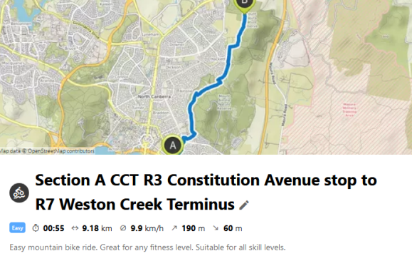 Section A CCT R3 Constitution Avenue stop to R7 Weston Creek Terminus