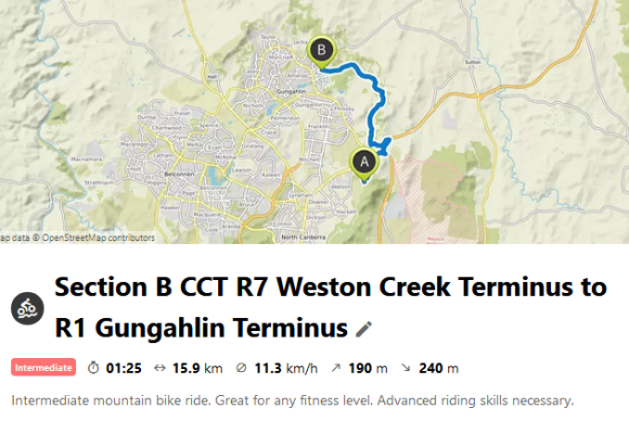 Section B CCT R7 Weston Creek Terminus to R1 Gungahlin Terminus