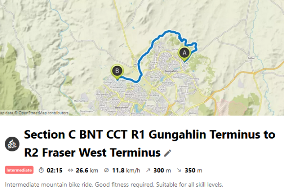 Section C BNT CCT R1 Gungahlin Terminus to R2 Fraser West Terminus