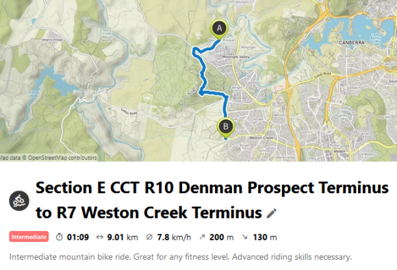 Section E CCT R10 Denman Prospect Terminus to R7 Weston Creek Terminus