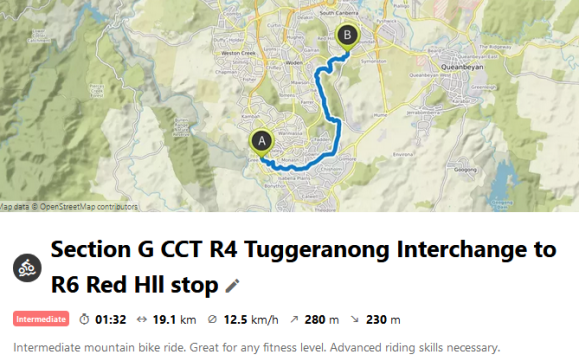 Section G CCT R4 Tuggeranong Interchange to R6 Red Hll stop