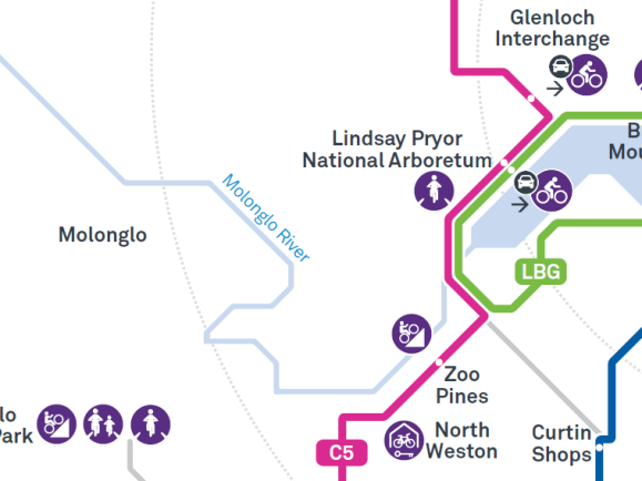 Current routes from the CBR cycle route signs website, ACT Government