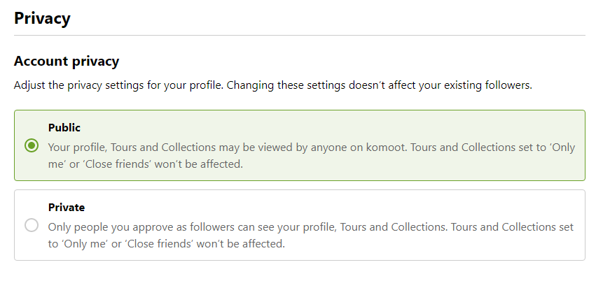 Komoot account privacy default