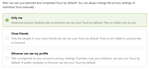 Komoot planned and completed Tours default