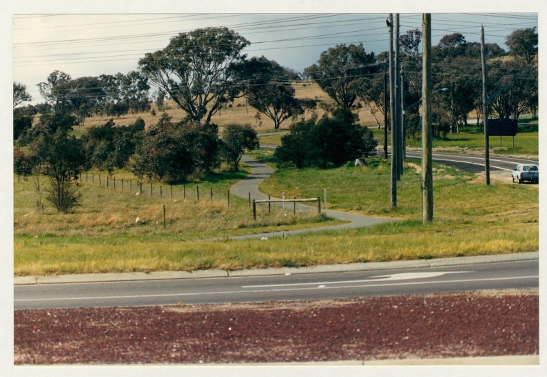 Athllon Drive cycleway looking north from Sulwood Drive. c1989