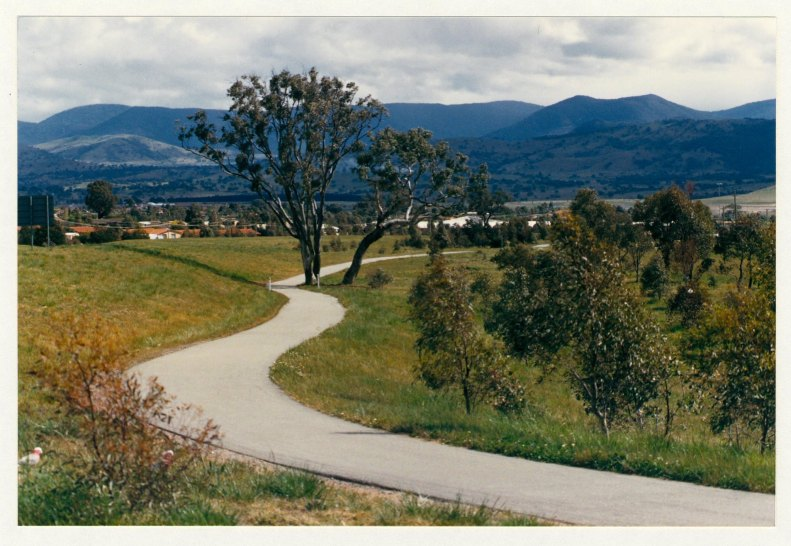 Athllon Drive cycleway looking south from Sulwood Drive. c1989