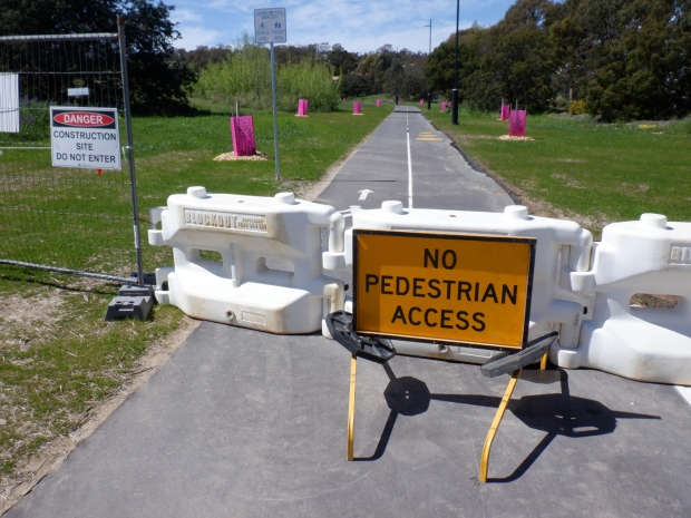 No pedestrian access sign, Akman Drive. Belconnen Bikeway under construction, stand 11/10/2020