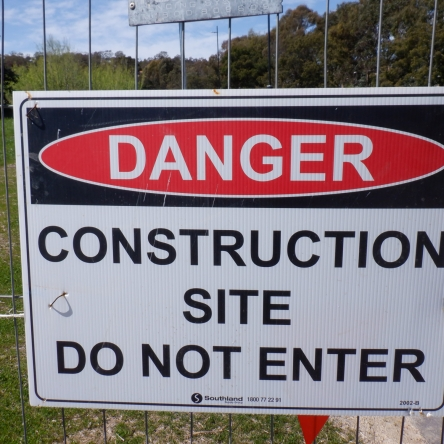 Construction site do not enter, Akman Drive. Belconnen Bikeway under construction, stand 11/10/2020