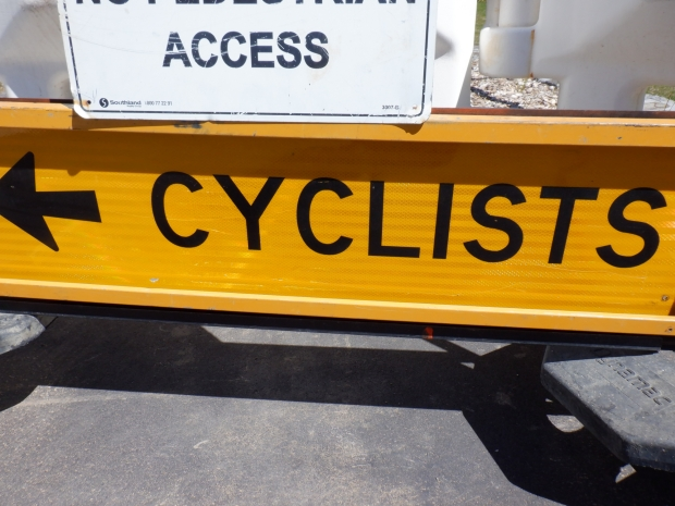 Detour sign. Bike only path, Cooinda Street / College Street. Belconnen Bikeway under construction, stand 11/10/2020