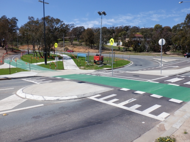 Bike only path, Cooinda Street / College Street. Belconnen Bikeway under construction, stand 11/10/2020