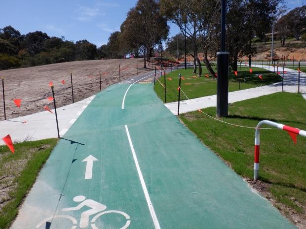 Bike only path, Cooinda Street / College Street. Belconnen Bikeway under construction, stand 11/10/2020