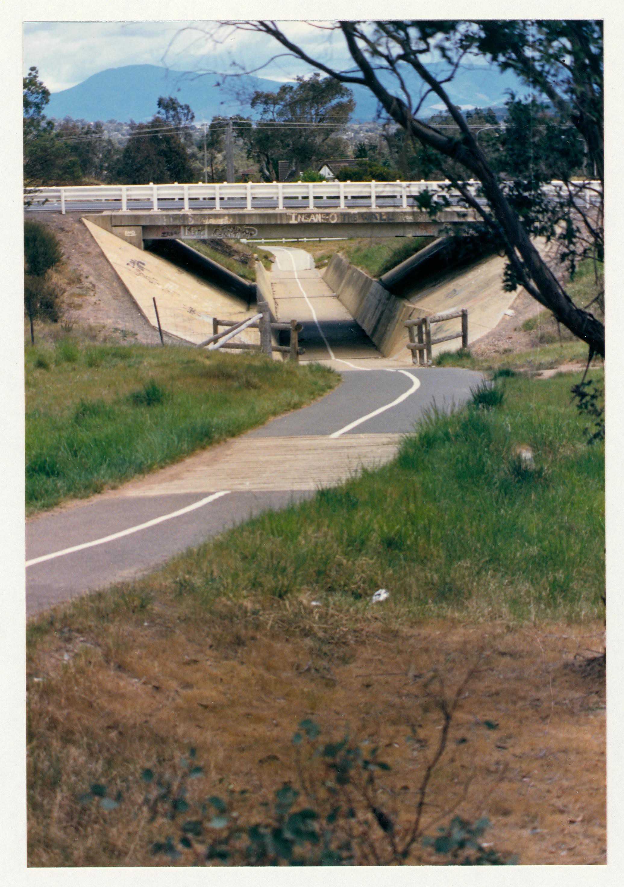 Tuggeranong Parkway underpass from Waldock Street. c1989