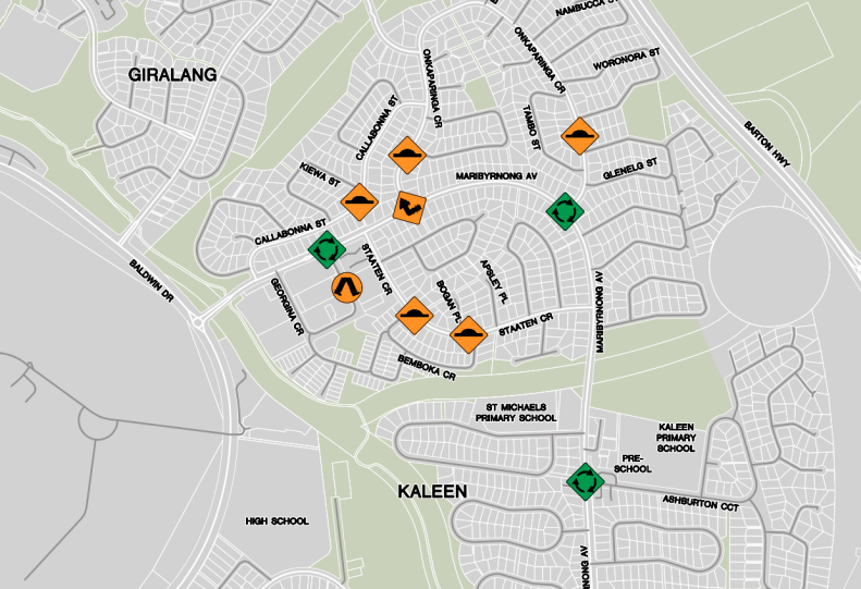 Giralang Kaleen Residential street improvements, ACT Government, February 2019