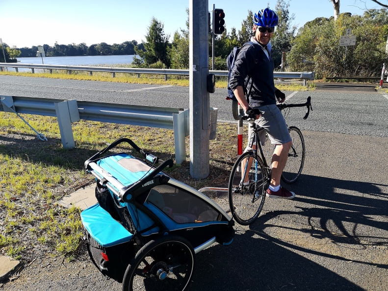 Riding with children in tow, Lady Denman Drive, CBR Cycleway C5, Aranda, Lake Burley Griffin