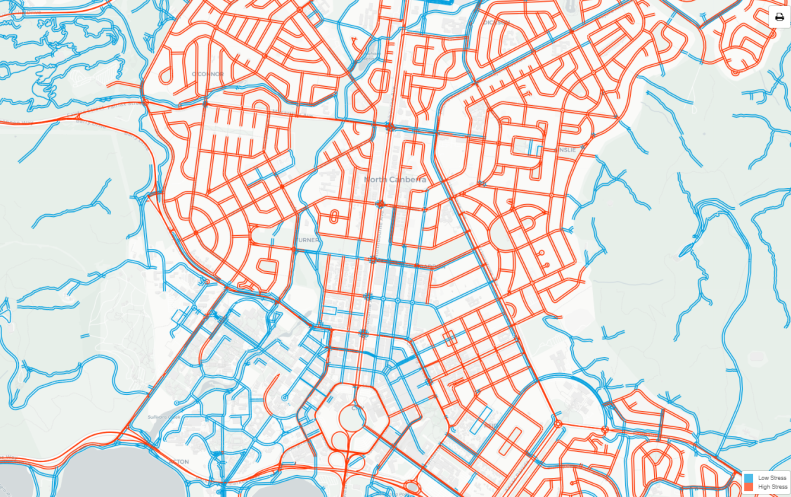 Inner north, Canberra, Bicycle Network Analysis high and low stress