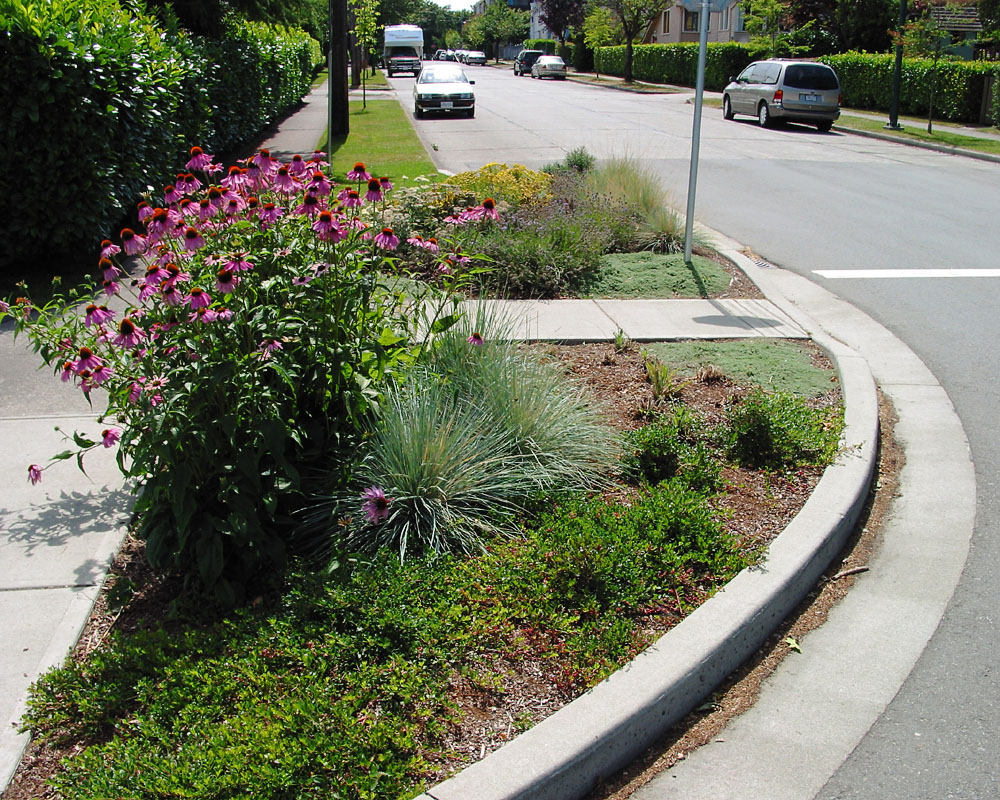 Landscaped curb extension. Richard Drdul. Flickr (CC BY-SA 2.0)