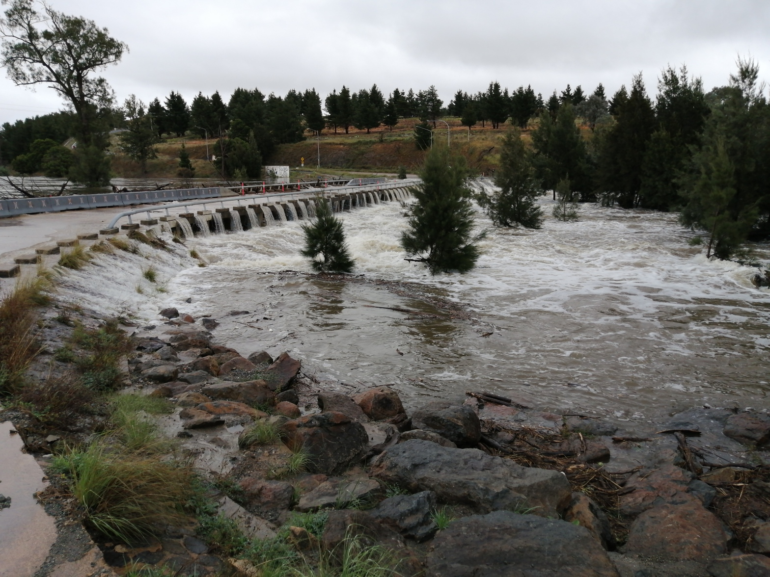 Flood water, Coppins Crossing, Molonglo River, Molonglo Valley, 24 March 2021