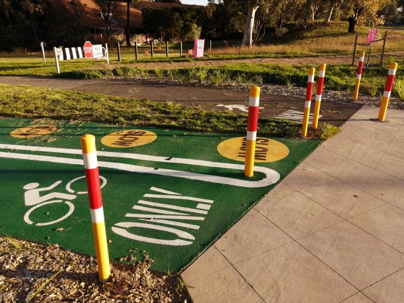 Bollard barrier, Belconnen Bikeway, Belconnen, ACT